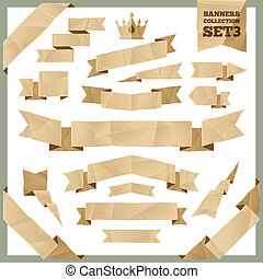 Crumpled Paper Ribbons Banners Collection Set3. In the EPS...