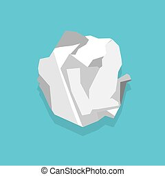 Crumpled paper sheet. Vector illustration in flat style.