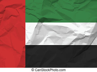 crumpled paper United Arab Emirates flag
