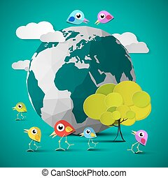 Crumpled Paper Vector Earth - Globe Illustration with Tree, Cloud and Birds on Green Background