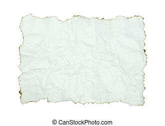 crumpled paper with burnt edges over white