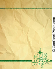 Crumpled paper with snowflakes