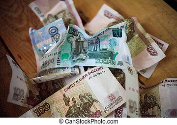 Crumpled Russian rubles