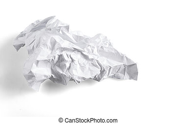 crumpled sheet of paper on a white background