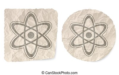 Crumpled slip of paper and a science symbol
