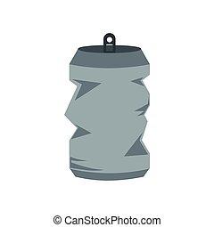 Crumpled tin can icon, flat style
