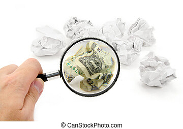 crumpled usa dollar ball and magnifier - crumpled usa dollar...