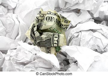 crumpled usa dollar ball, business concept
