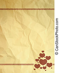 Crumpled vintage card with hearts