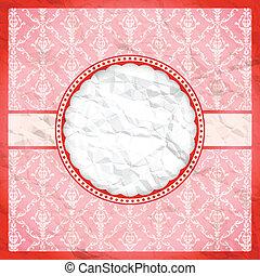 Crumpled vintage lace frame