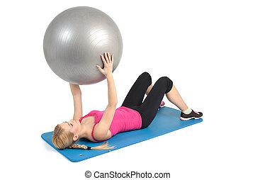 crunching, bola, abs, mentindo, femininas, exercício aptidão