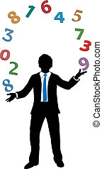 crunching, financeiro, negócio, número, juggling, homem