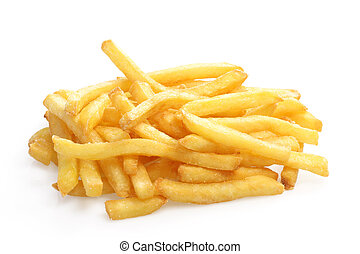 Crunchy French Fries on white background