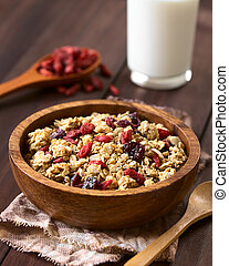 Crunchy Oatmeal Cereal with Almond and Dried Berries