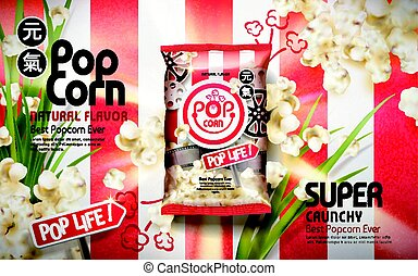 Crunchy popcorn ads, with scallion elements isolated on...