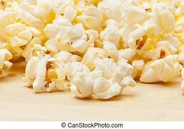 Crunchy white buttered popcorn that is salted