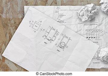 crunpled, alarme-incendie, diagramme, unique, papier, schématique, ligne, électronique, contremarche