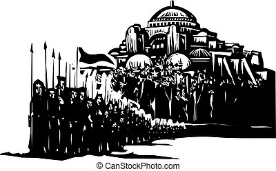 Crusader Army on March - Woodcut style expressionist image...