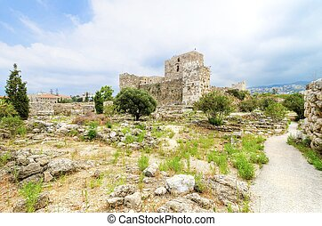 The crusaders' castle in the historic city of Byblos in Lebanon. A view of the western walls and a path leading to the east of the ancient site discovered in the area.