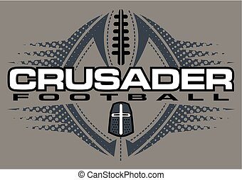 crusader football team design with helmet and ball for...