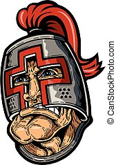 crusader mascot face with huge chin design for school,...