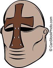 Crusader knight helmet icon cartoon