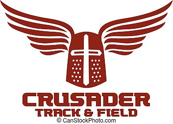 crusader track and field team design with helmet and wings...