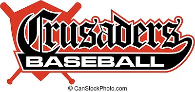 crusaders baseball team design with shield and crossed bats...