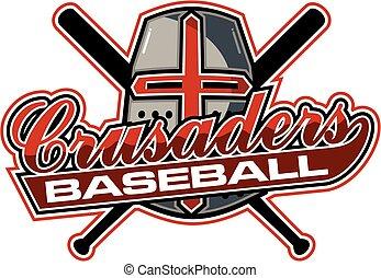 crusaders baseball team design with helmet and crossed bats...