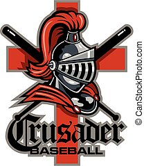 crusaders baseball team design with mascot and crossed bats...