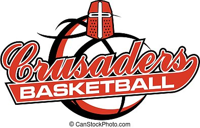 crusaders basketball team design with mascot helmet and ball...