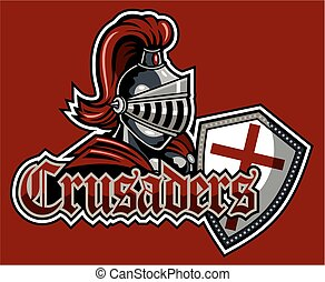 crusaders team design with mascot and shield for school,...