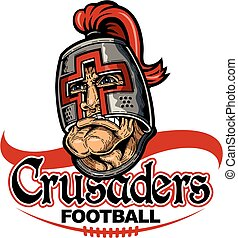crusaders football team design with mascot and laces for ...