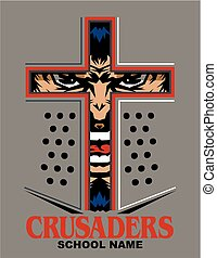 crusaders mascot team design with face inside helmet for...
