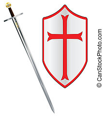 Crusaders Sword and Shield - A sword of the type ised by a...