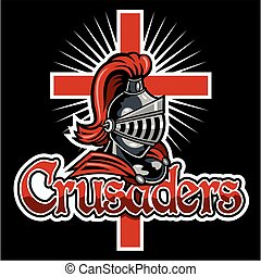 crusaders team design with mascot for school, college or ...
