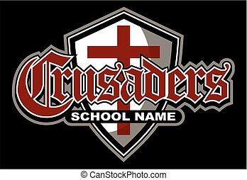 crusaders team design with shield for school, college or...