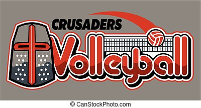 crusaders volleyball team design with mascot and ball for school, college or league