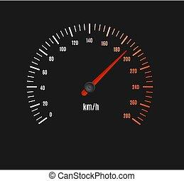 cruscotto, tachimetro, macchina velocità, contatore, o, vettore, pointer.