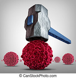 Crush Cancer - Crush cancer concept as a heavy sledgehammer ...