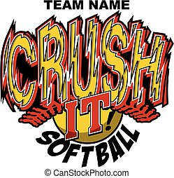 crush it softball team design with stitches and ball for school, college or league