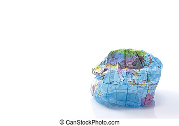 Crush paper balloon globe on white background