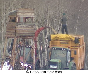 crush wood chips fall - tractor with crane loads branches to...