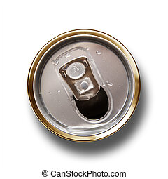 Crushed aluminum can in white background