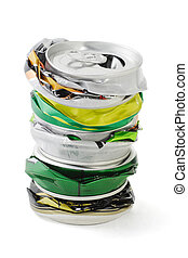 Crushed aluminum cans - Stack of crushed aluminum cans on...