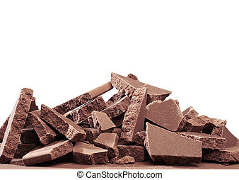 Crushed blocks of chocolate