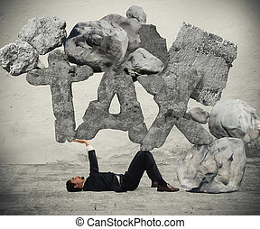 Crushed by the weight of taxes - Businessman crushed by the...