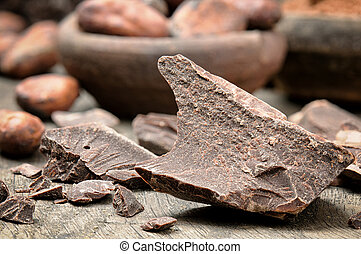 Crushed dark chocolate with cocoa beans
