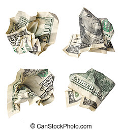 crushed dollar bills - Collection of crushed one hundred...