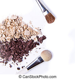 crushed eyeshadow - eyeshadow in heart shape on white...